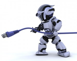robot with RJ45 network cable