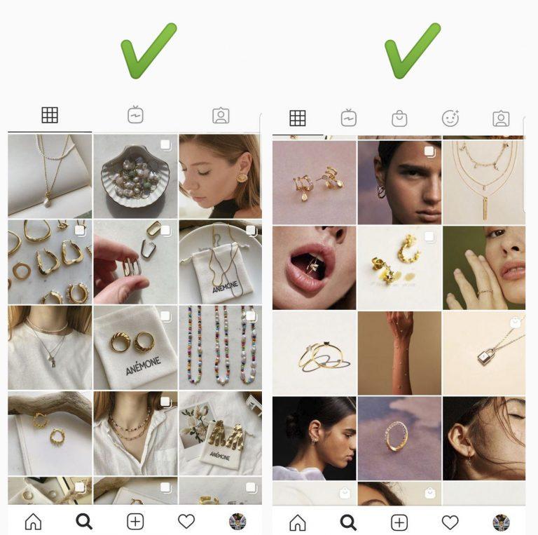 Профиль женских ювелирных изделий в Instagram