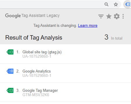 Расширение Google Tag Assistant