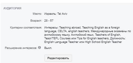 настройка таргетинга на учителей английского языка