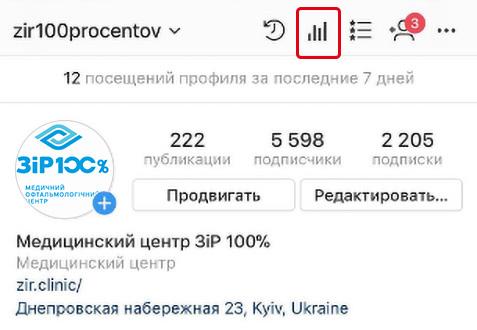 где открывать статистику страницы в Instagram