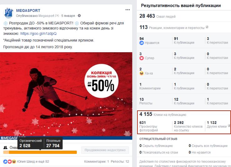 акция мегаспорт в фейсбук реклама