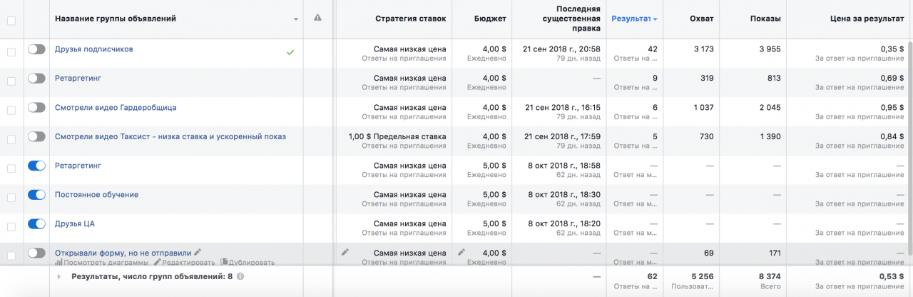 мероприятия events settings