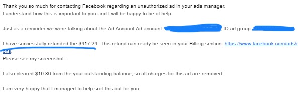 возврат денег реклама facebook
