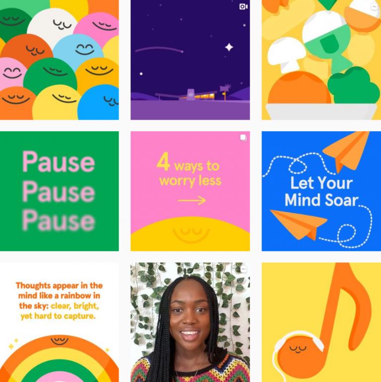 Визуал Инстаграм в приложении для йоги Headspace