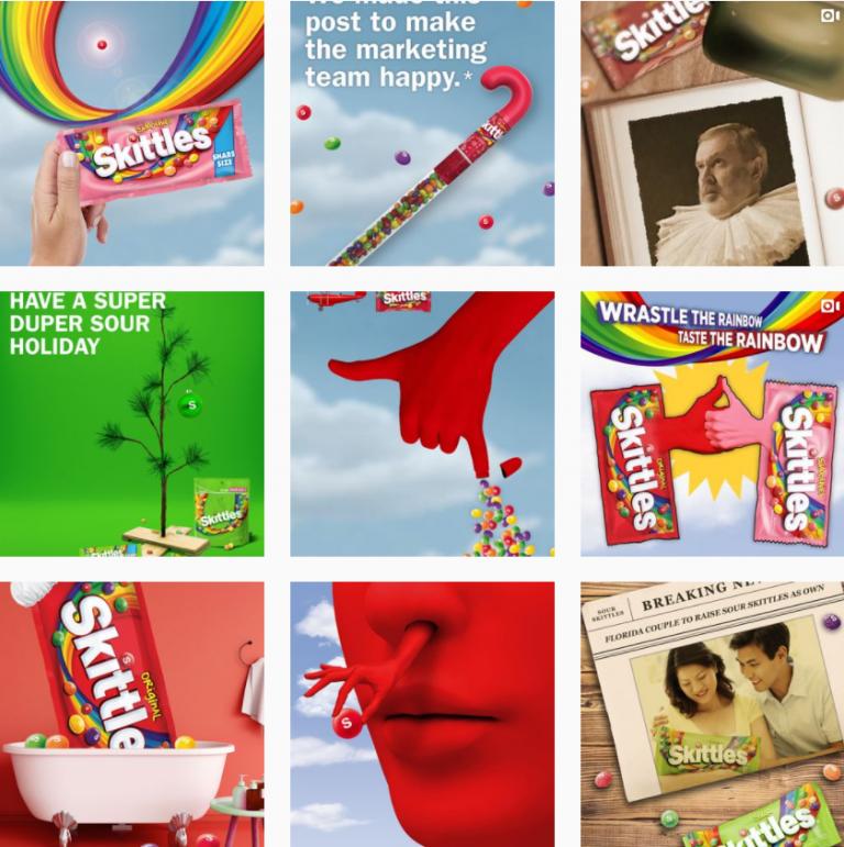 Визуал Инстаграм конфет Skittles