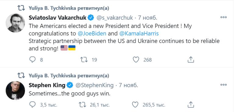 Что репостят известные бизнесмены Украины. Юлия Тычкивская